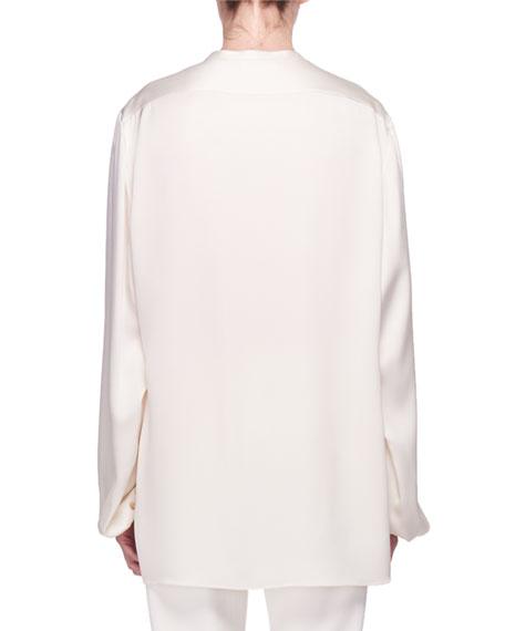 Maura Button-Front Silk Satin Shirt
