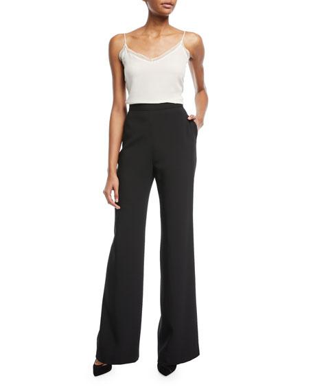 Black Crepe Wide-Leg Pants