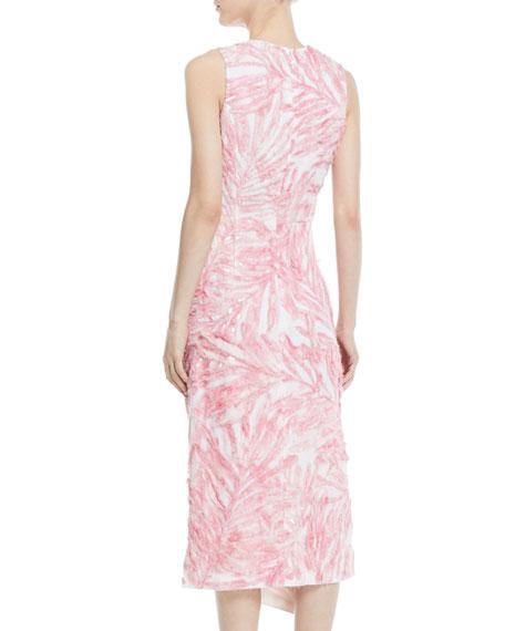 Sleeveless Beaded Palm-Print Linen Dress