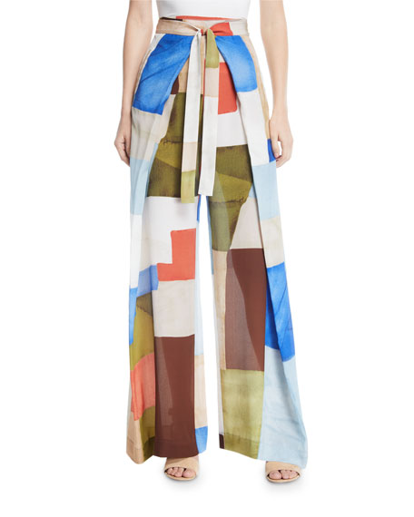 Wide-Leg Patchwork-Print Apron Crepe de Chine Silk Pants