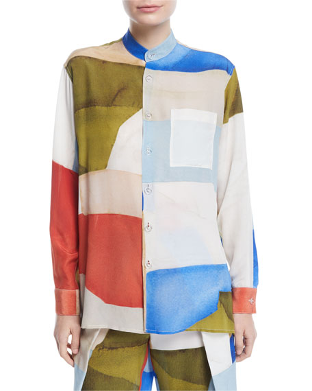 Button-Front Long-Sleeve Patchwork-Print Silk Blouse