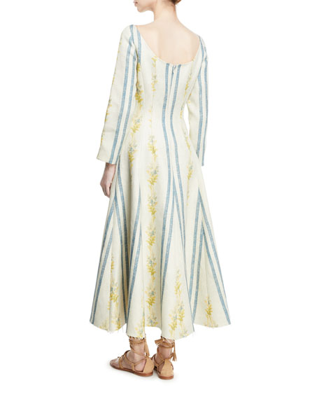 Dilian Bateau-Neck Floral & Stripe-Print Linen Midi Dress