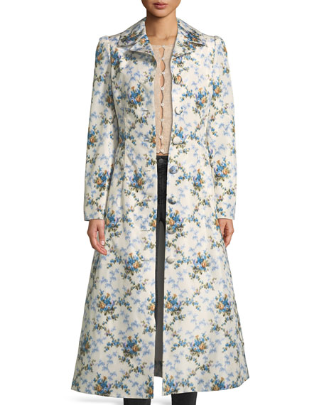 Colette Rose-Print Belted Chine Taffeta Corseted Coat