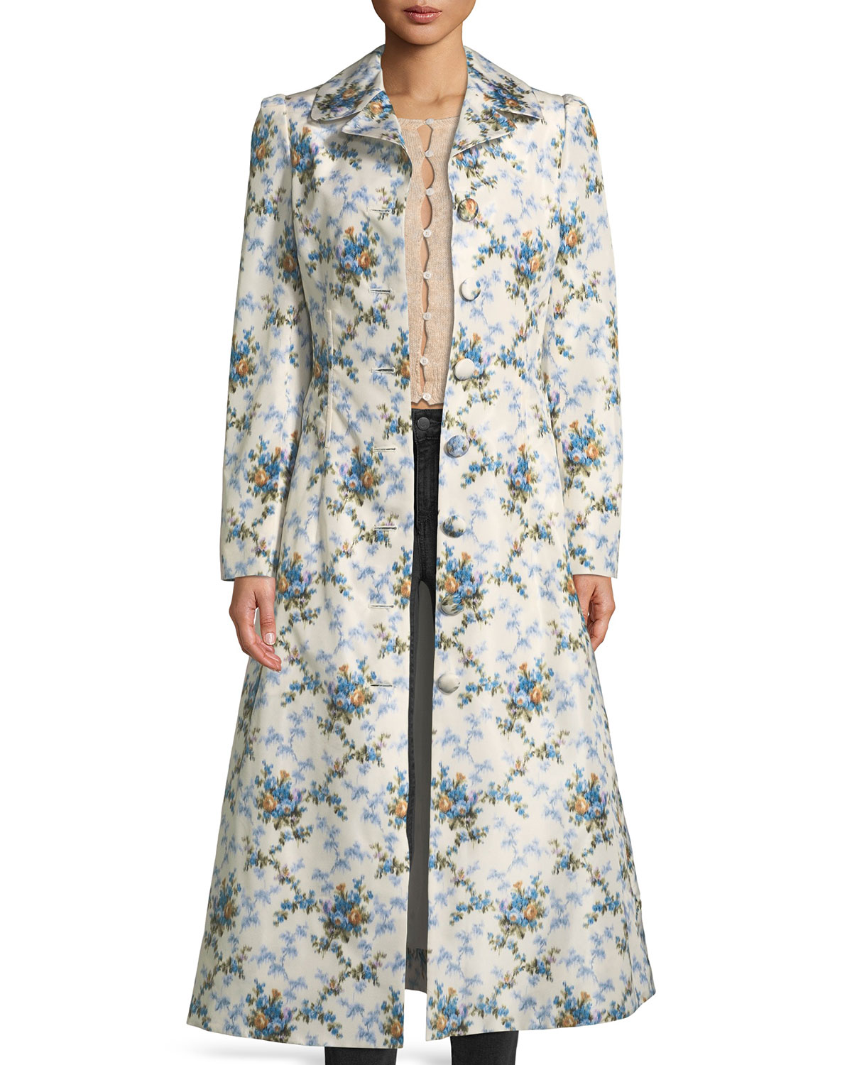 5326f430c0f02 Brock Collection Colette Rose-Print Belted Chine Taffeta Corseted ...