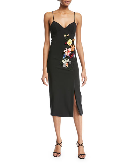 Ivana Camisole Cocktail Dress w/ 3-D Floral-Embroidery