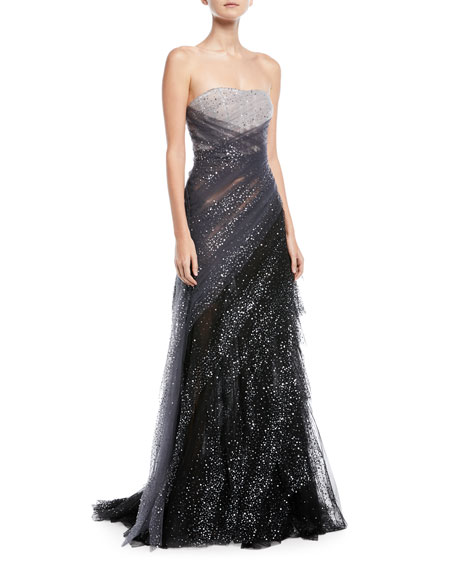 Pamella roland sequin embroidered hand draped tulle evening gown sequin embroidered hand draped tulle evening gown junglespirit Images