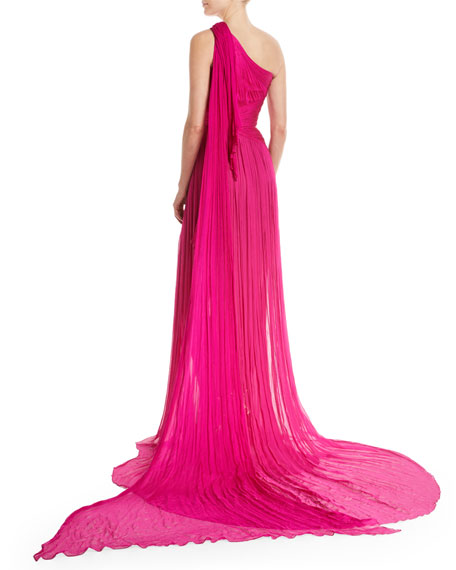 One-Shoulder Hand Pleated & Draped Silk Chiffon Evening Gown