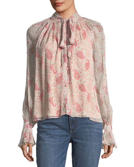 Co Paisley Floral-Print Tie-Neck Chiffon Blouse