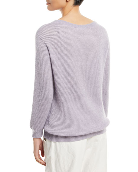 Metallic Mohair-Blend Ribbed Sweater