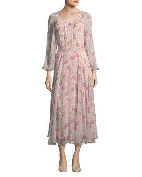Round-Neck Paisley-Print Crinkled Chiffon Midi Dress