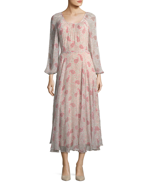 Co Round-Neck Paisley-Print Crinkled Chiffon Midi Dress   Neiman Marcus