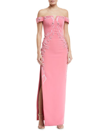 Off-the-Shoulder Bonded Crepe Evening Gown w/ Floral Embroidery