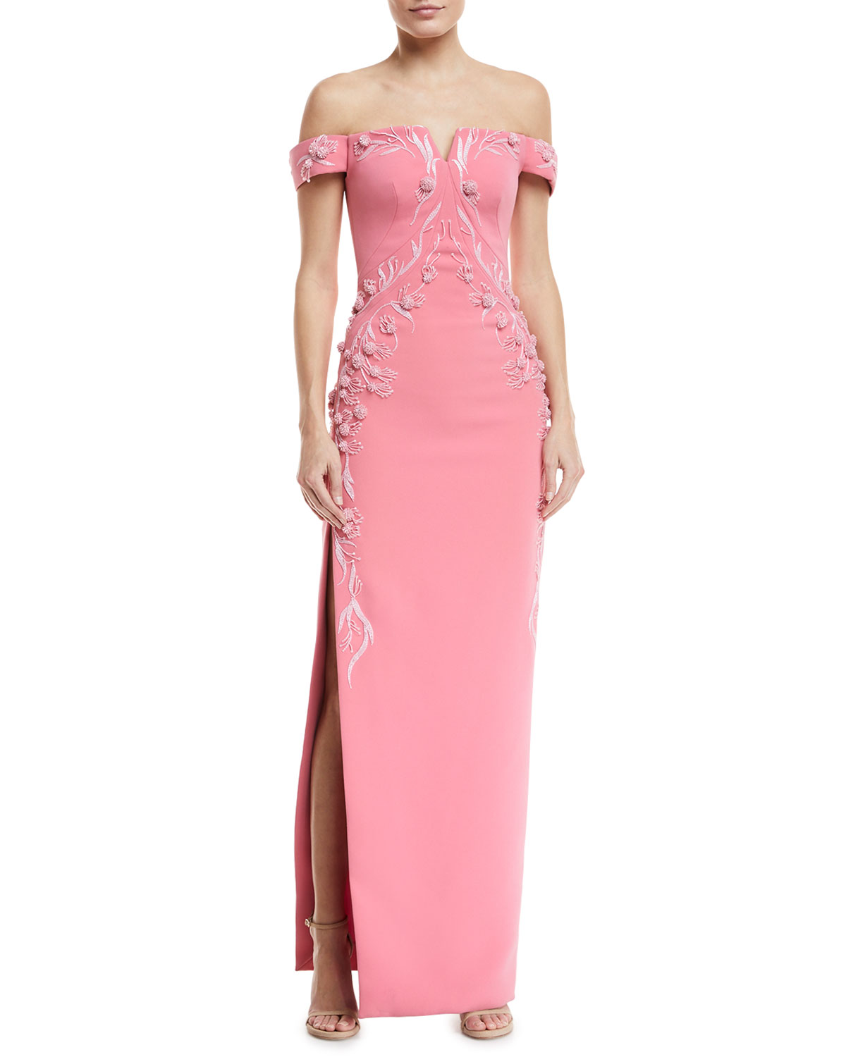 5b59848a30d4 Zac PosenOff-the-Shoulder Bonded Crepe Evening Gown w  Floral Embroidery