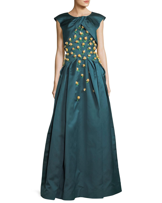 Zac Posen Double-Duchess Satin Corset-Bodice Evening Gown w/ Floral ...