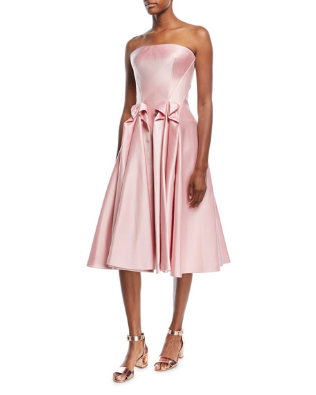 Strapless Double-Face Duchess Satin Tea-Length Cocktail Dress
