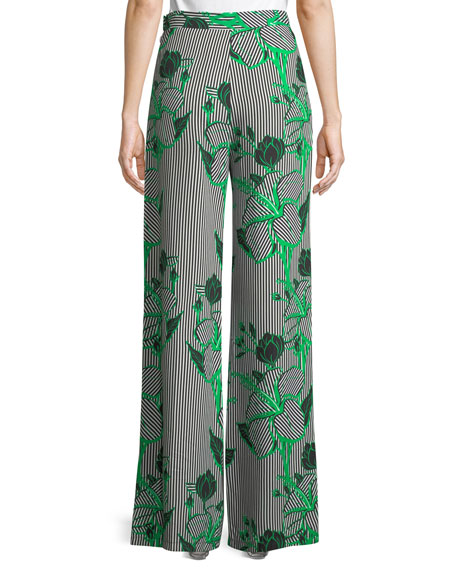 Linear Floral-Printed Wide-Leg Crepe Pants