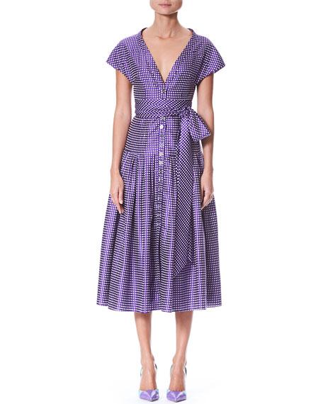 Short-Sleeve V-Neck Button-Front Dotted Belted Cocktail Dress