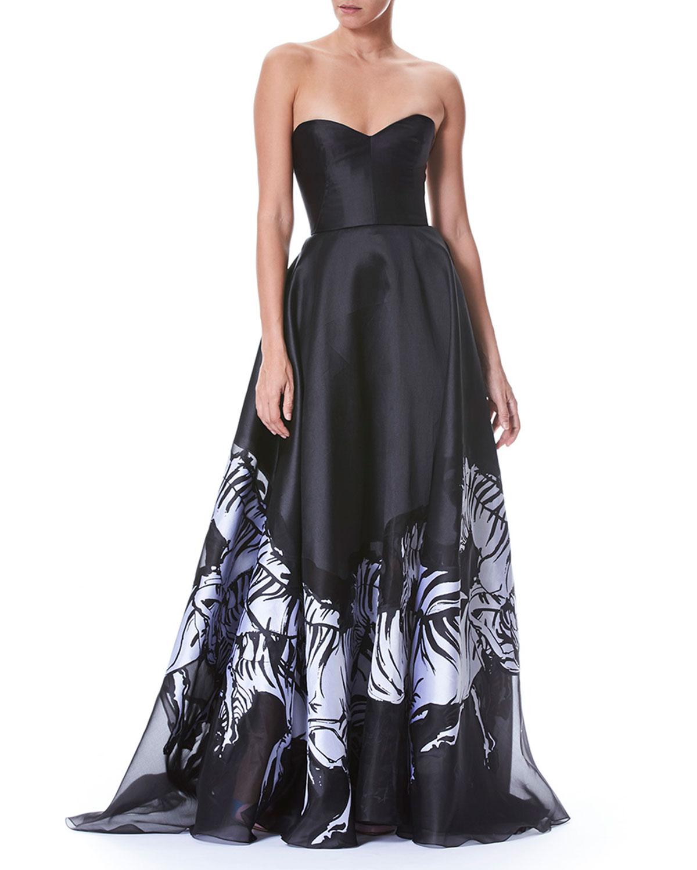 Carolina Herrera Strapless Belted Bustier Zebra-Print Evening Gown ...