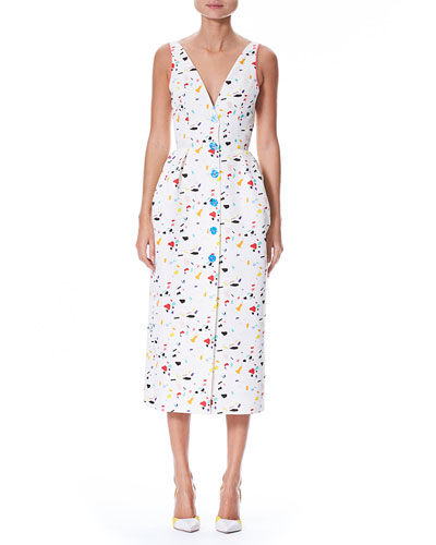 Sleeveless V-Neck Button-Front Printed Midi Dress