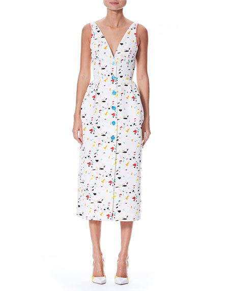 Carolina Herrera Sleeveless V-Neck Button-Front Printed Midi