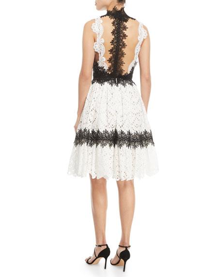 Sleeveless Eyelet Lace V-Neck Knee-Length Cocktail Dress
