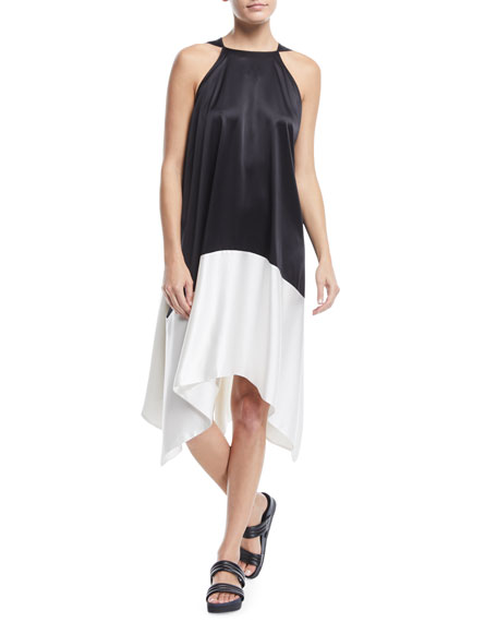Sleeveless Colorblock Silk Tunic Dress