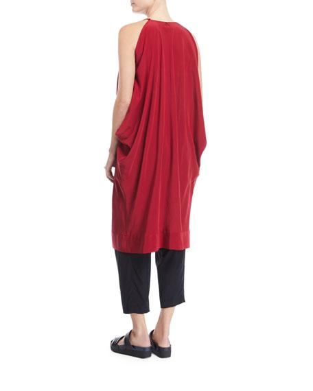 Scoop-Neck Sleeveless Silk Oversized Tunic