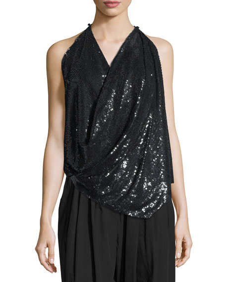Image 1 of 2: Urban Zen Sequined Draped Transformer Top