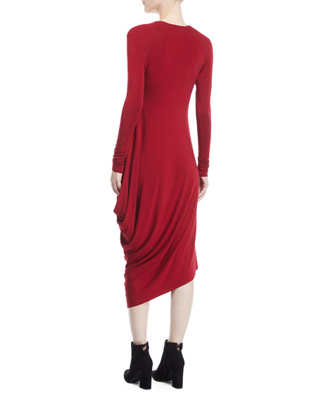 Scoop-Neck Long-Sleeve Draped Jersey Midi Dress