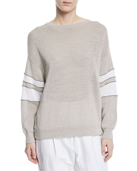 Brunello Cucinelli Knit Pullover Sweater w/Arm Band Stripes