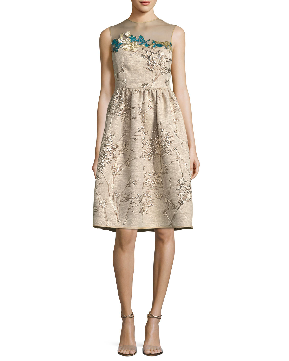 c349d53cebee1 Talbot Runhof Ponnel Sleeveless Twig Silk Jacquard Cocktail Dress with  Floral Embroidery