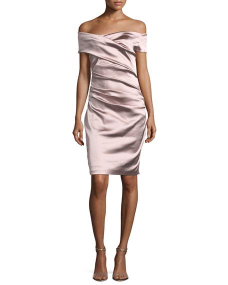 Off-the-Shoulder Ruched Satin Duchesse Cocktail Dress