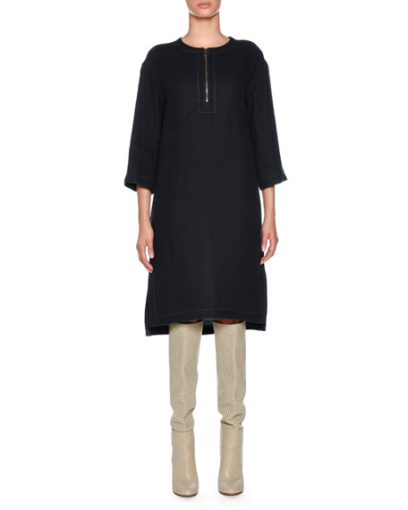 Agnona Round Zip Neck Linen-Blend Dress