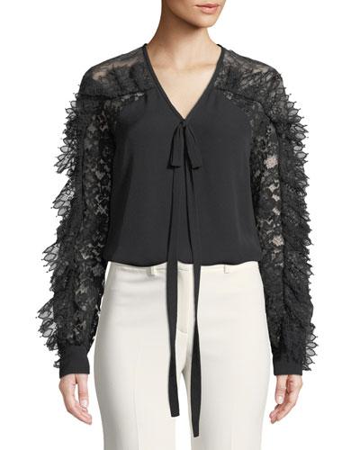 Lace-Sleeve V-Neck Tie-Front Silk-Blend Blouse