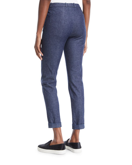 Davis Skinny-Leg Chambray Ankle Pants