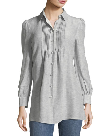 Button-Front Striped Silk-Linen Shirt