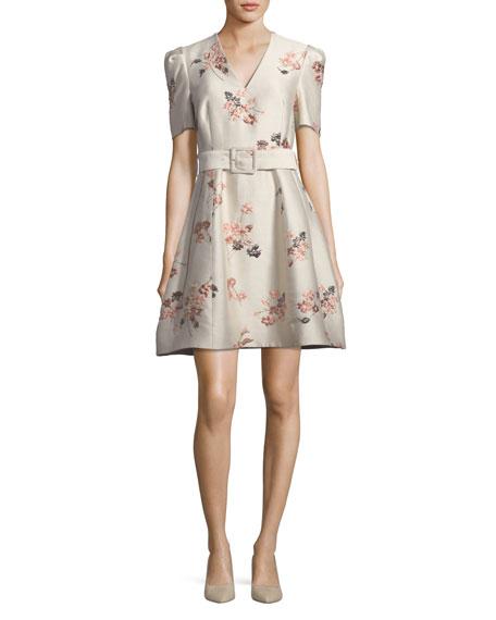 Co V-Neck Short-Sleeve Belted Fit-and-Flare Floral Jacquard Dress