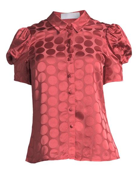 Button-Front Short-Sleeve Tonal Dot Satin Blouse