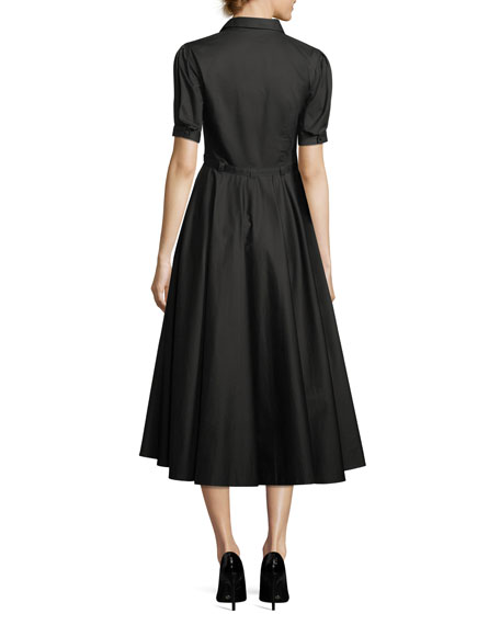 Button-Front Belted Cotton Poplin Dress with Full Skirt
