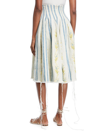 Sandra Corset Floral-Embroidered Stripe Linen Skirt
