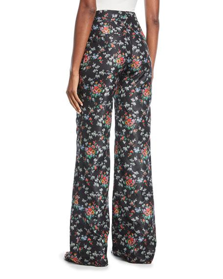 Brock Collection Pamela Floral-Print Crepe de Chine Wide-Leg Pants