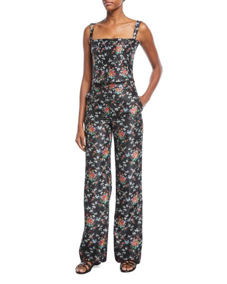 Pamela Floral-Print Crepe de Chine Wide-Leg Pants