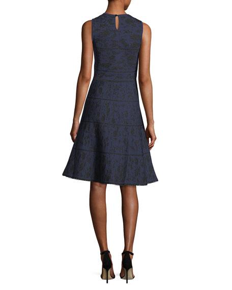 Crewneck Sleeveless Knit Jacquard Cocktail Dress