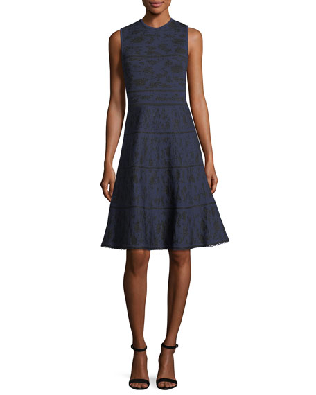 Crewneck Sleeveless Knit Jacquard Cocktail Dress