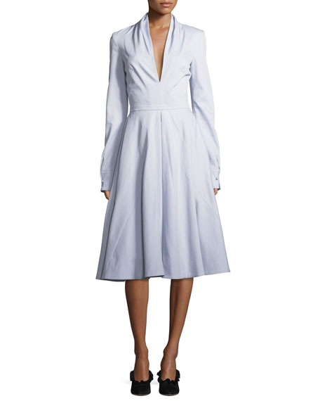 Brandon Maxwell Deep-V Long-Sleeve Cotton Twill Fit-and-Flare Midi Dress