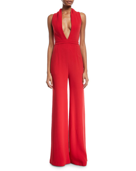 Double-Face Crepe Rolled-Collar Jumpsuit