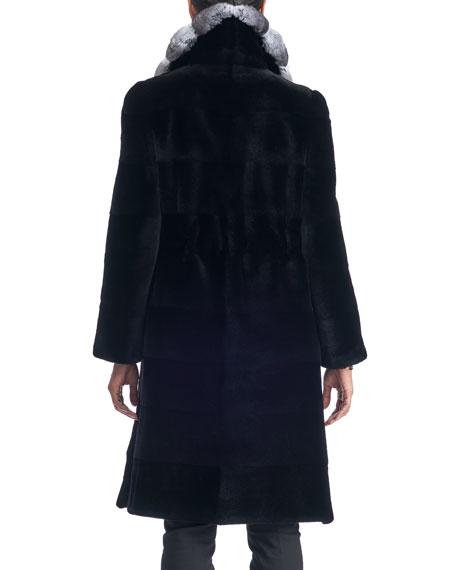 Belted Sheared Mink Fur Stroller Coat