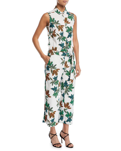 Sleeveless Button-Front Cropped Wide-Leg Jumpsuits
