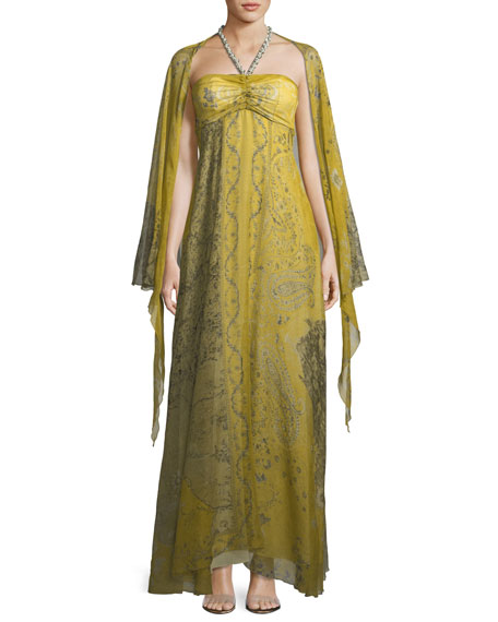 Chartreuse Cape Shoulder Evening Gown