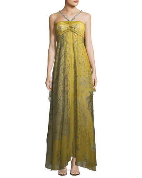 Etro Chartreuse Cape Shoulder Evening Gown